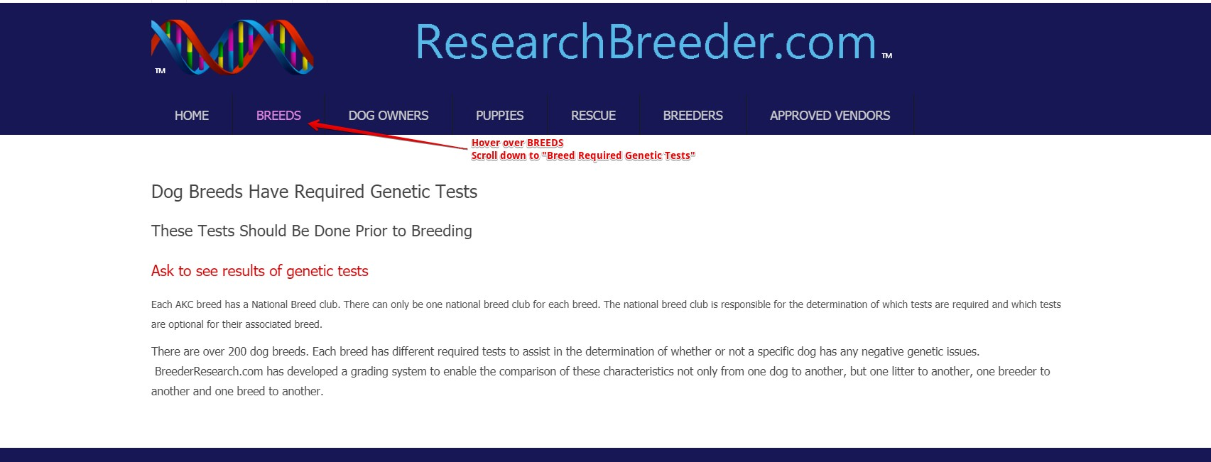 ResearchBreeder.com Required Genetic Health Test